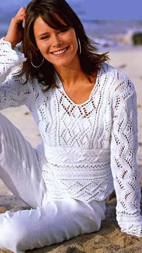 Ажурный пуловер спицами - схема